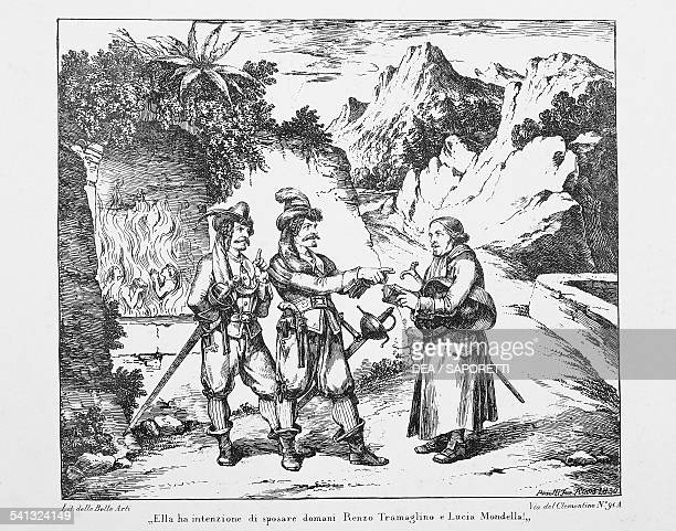 Don Abbondio encounters two Bravi, lithograph by Bartolomeo Pinelli for The Betrothed by Alessandro Manzoni . Italy, 19th century.