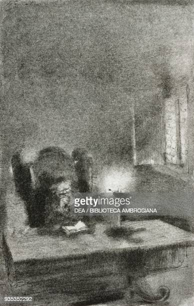 Don Abbondio reading at his desk, illustration by Gaetano Previati , from The Betrothed, A Milanese story of the 17th century, History of the Column...