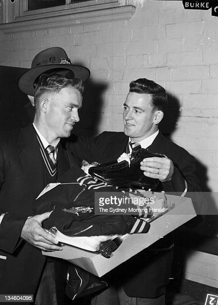 Don Adams and Ken Holman receive the official uniform of the Australian Rugby League team before its tour of the UK Picture taken at the Sydney...