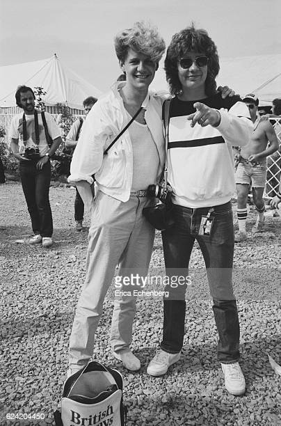 Don Airey and Keith Airey backstage at Monsters Of Rock festival Donington Park Leicestershire United Kingdom August 18th 1984