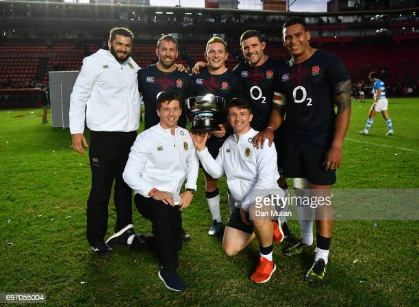 Don Armand Chris Robshaw Sam Underhill Mark Wilson Nathan Hughes Ben Curry and Tom Curry of England celebrate following victory during the ICBC Cup...