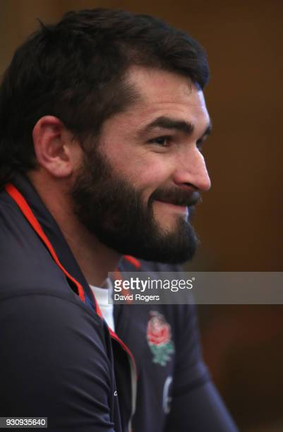 Don Armand faces the media during the England media session held at Pennyhill Park on March 12 2018 in Bagshot England