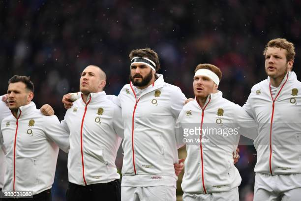 Don Armand of England and teammates sing the national anthem prior to the NatWest Six Nations match between England and Ireland at Twickenham Stadium...
