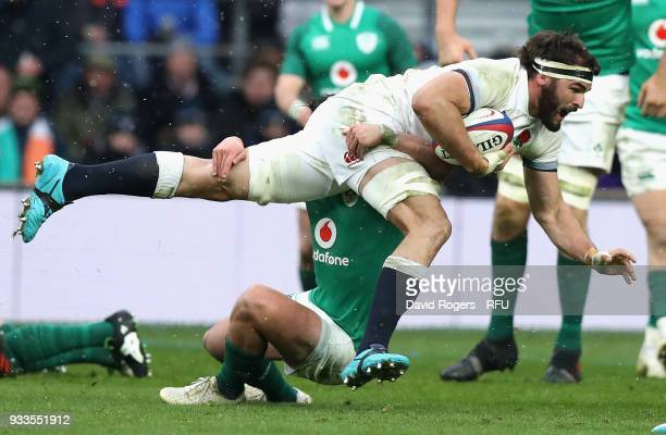 Don Armand of England charges upfield during the NatWest Six Nations match between England and Ireland at Twickenham Stadium on March 17 2018 in...