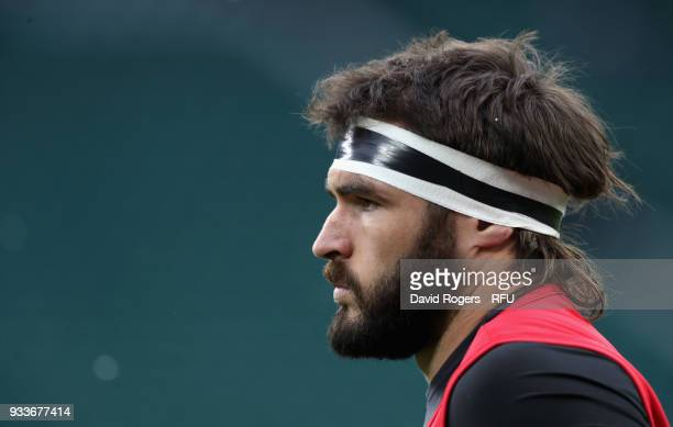 Don Armand of England looks on in the warm up during the NatWest Six Nations match between England and Ireland at Twickenham Stadium on March 17 2018...