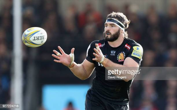Don Armand of Exeter catches the ball during the Aviva Premiership match between Exeter Chiefs and Saracens at Sandy Park on March 4 2018 in Exeter...