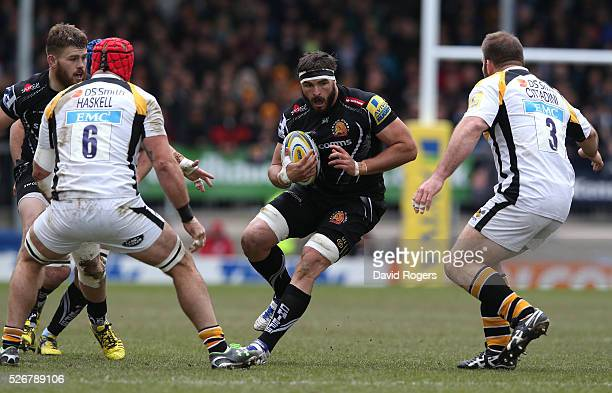 Don Armand of Exeter charges upfield during the Aviva Premiership match between Exeter Chiefs and Wasps at Sandy Park on May 1 2016 in Exeter England
