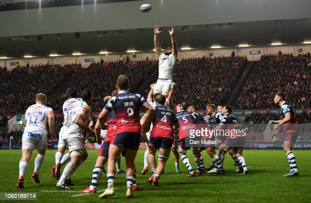 Don Armand of Exeter Chiefs catches a line out during the Gallagher Premiership Rugby match between Bristol Bears and Exeter Chiefs at Ashton Gate on...