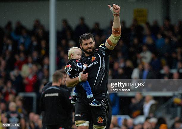 Don Armand of Exeter Chiefs celebrates reaching the Aviva Premiership Final at the end of the Aviva Premiership semi final match between Exeter...
