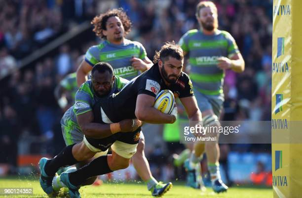 Don Armand of Exeter Chiefs dives in to score a try during the Aviva Premiership Semi Final between Exeter Chiefs and Newcastle Falcons at Sandy Park...