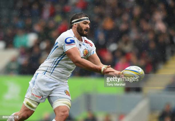 Don Armand of Exeter Chiefs during the Aviva Premiership match between Leicester Tigers and Exeter Chiefs at Welford Road on September 30 2017 in...