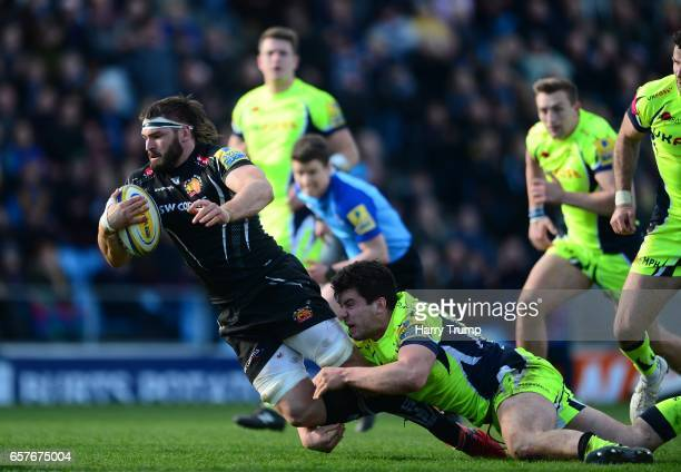 Don Armand of Exeter Chiefs goes over for his sides fourth try during the Aviva Premiership match between Exeter Chiefs and Sale Sharks at Sandy Park...