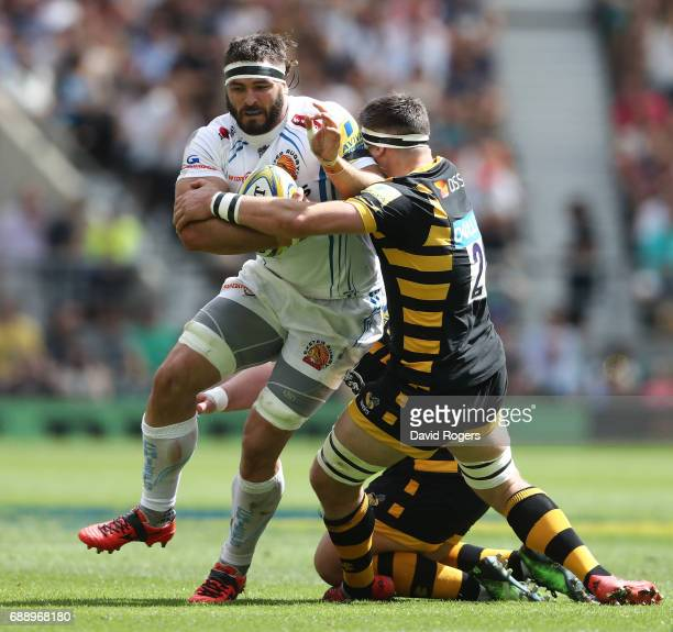 Don Armand of Exeter Chiefs is tackled by Guy Thompson of Wasps during the Aviva Premiership Final between Wasps and Exeter Chiefs at Twickenham...