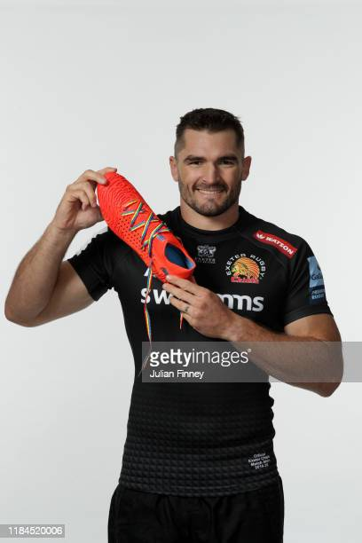 Don Armand of Exeter Chiefs poses for a portrait with rainbow laces on his boots in support of the Stonewall Rainbow Laces Campaign promoting...