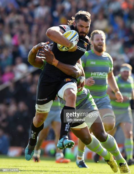 Don Armand of Exeter Chiefs runs in to score a try during the Aviva Premiership Semi Final between Exeter Chiefs and Newcastle Falcons at Sandy Park...