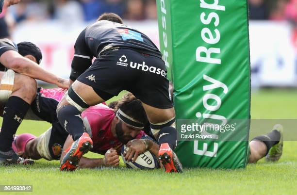 Don Armand of Exeter Chiefs scores a second half try during the European Rugby Champions Cup match between Montpellier and Exeter Chiefs at Altrad...