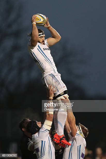 Don Armand of Exeter Chiefs wins a line out during the Aviva Premiership match between Saracens and Exeter Chiefs at Allianz Park on January 7 2017...