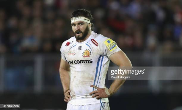 Don Armand of Exeter looks on during the Aviva Premiership match between Bath Rugby and Exeter Chiefs at the Recreation Ground on March 23 2018 in...