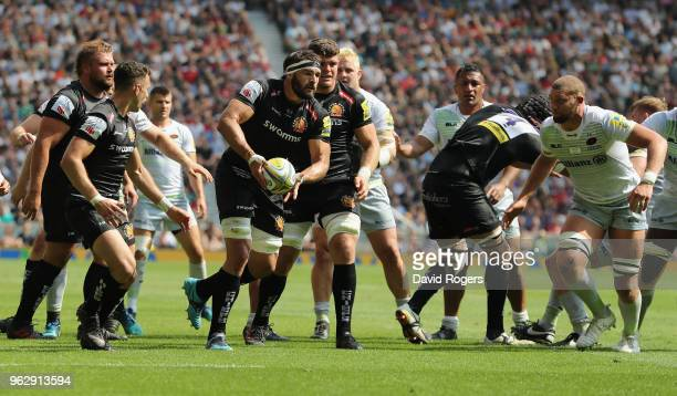 Don Armand of Exeter passes the ball during the Aviva Premiership Final between Exeter Chiefs and Saracens at Twickenham Stadium on May 26 2018 in...