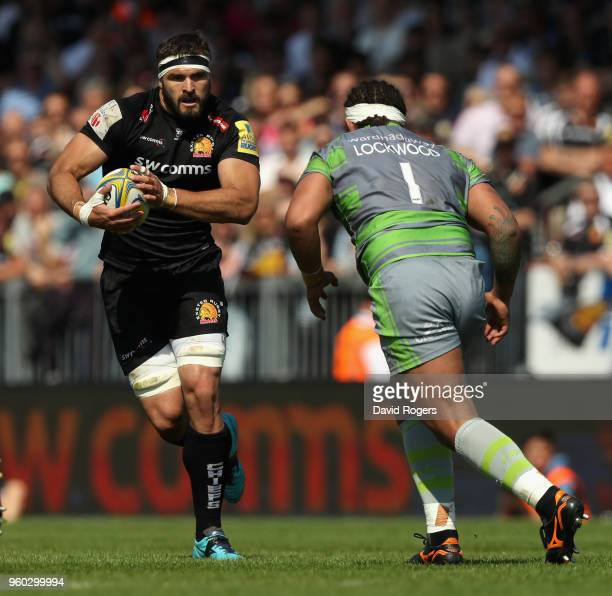 Don Armand of Exeter takes on Sam Lockwood during the Aviva Premiership Semi Final between Exeter Chiefs and Newcastle Falcons at Sandy Park on May...
