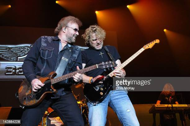 Don Barnes and Danny Chauncey of 38 Special perform at the Arena at Gwinnett Center on April 13 2012 in Duluth Georgia