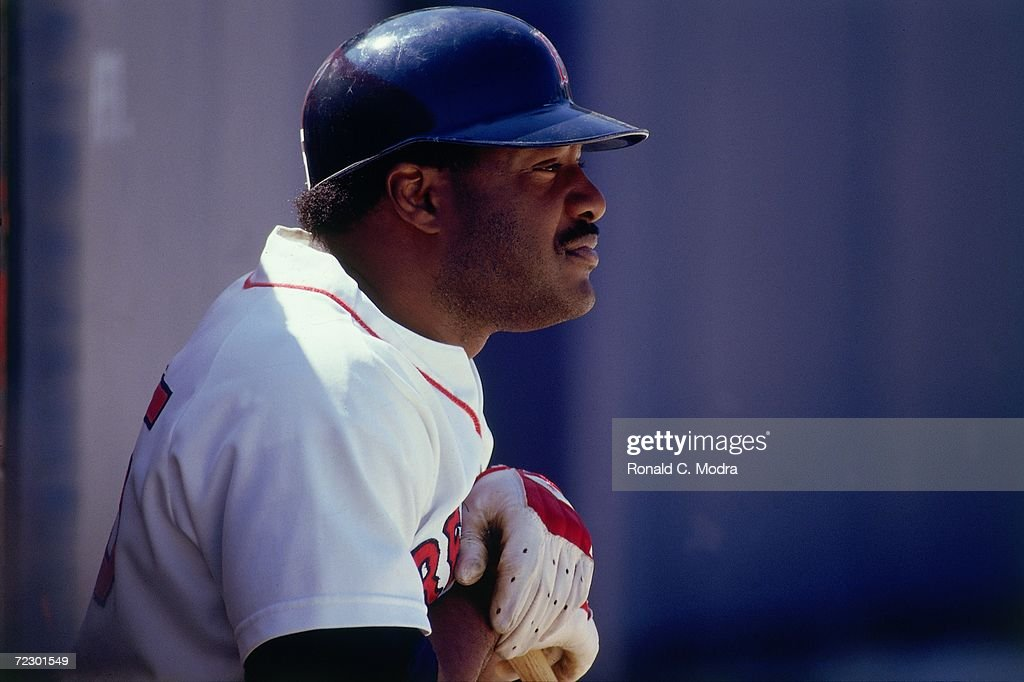 Don Baylor #25 of the Boston Red Sox in the batting circle at spring training in March 1987 in Winter Haven, Florida.