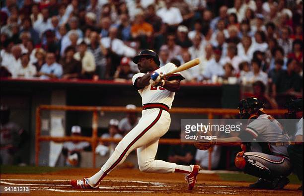 Don Baylor of the California Angels bats against the Baltimore Orioles during Game Three of the 1979 ALCS at Anaheim Stadium on October 5 1979 in...