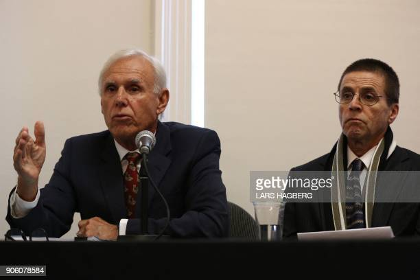 Don Bayne and Hassan Diab hold a press conference at Amensty International Canada in Ottawa Ontario on January 17 2018 following Diab's return to...