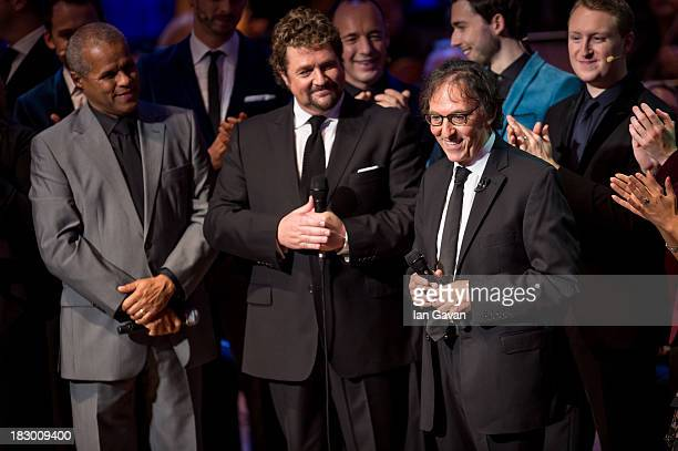Don Black and Michael Ball perform with the cast during the finale of 'A Life In Song Lyrics By Don Black' at the Royal Festival Hall on October 3...