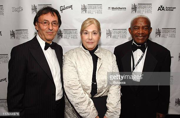 Don Black Marilyn Bergman and Irving Burgie during 38th Annual Songwriters Hall of Fame Ceremony Cocktails and Backstage at Marriott Marquis in New...