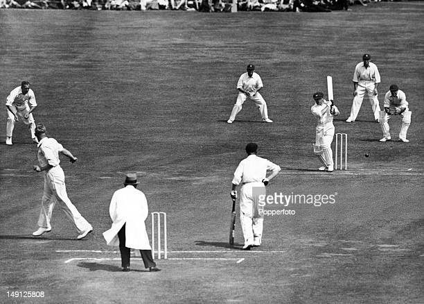 Don Bradman batting for Australia during the 2nd Test match against England at Lord's cricket ground in London 23rd June 1934 The England bowler is...