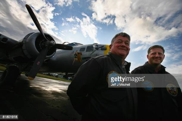 Don Brooks owner of the Liberty Belle one of the few remaining World War 2 B17 Flying Fortresses poses with pilot Ray Fowler after their arrival at...