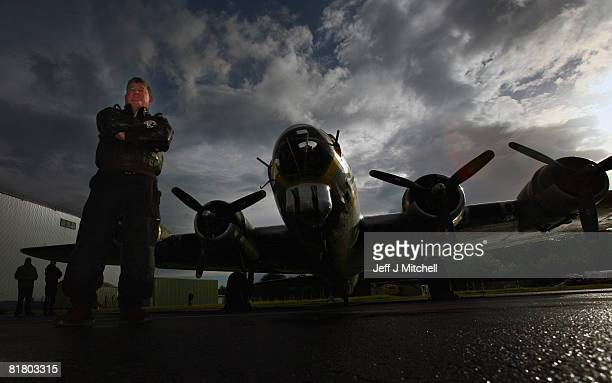Don Brooks owner of the Liberty Belle one of the few remaining World War 2 B17 Flying Fortresses poses after his arrival at Prestwick Airport July 2...