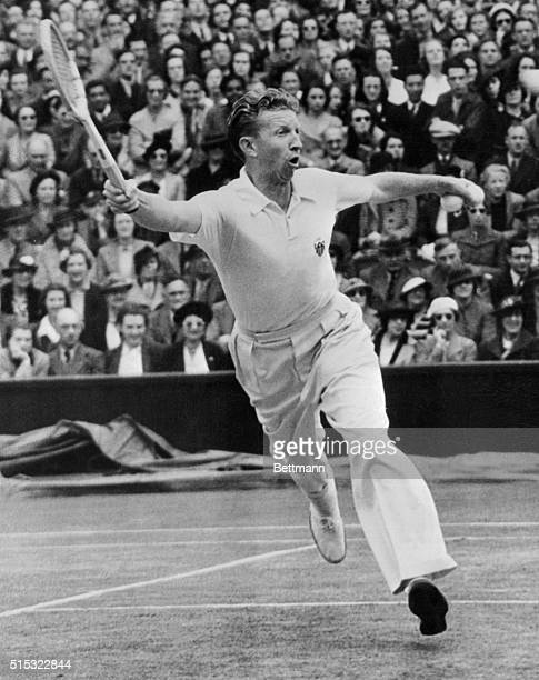 Donald Budge returning the ball to Destremeau during their match in the men's singles in the French Tennis Championships at the Roland Garros Stadium