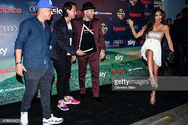 Don Cali DJ Chino and Mateo Jaschik of the band Chulcha Candela and Kader Loth attend the Sky Champions Night at The Grand on June 5 2015 in Berlin...