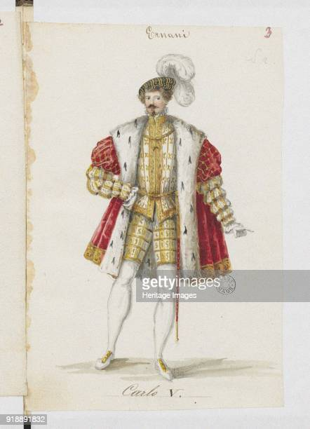 Don Carlos Costume design for the opera Ernani by Giuseppe Verdi 1845 Found in the collection of Bibliothèque Nationale de France