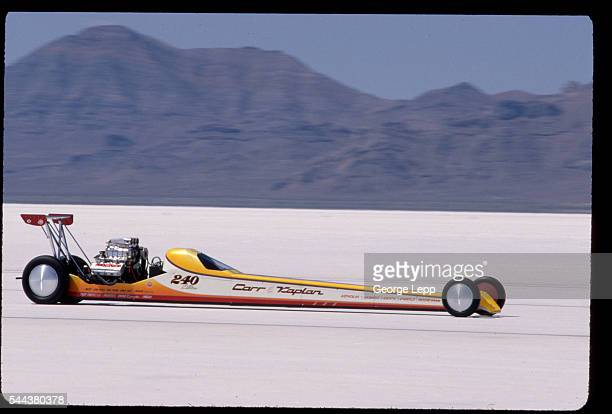 Don Carr races a Carr Kaplan 440 ci hemipowered AA/Fuel Lakester at the Bonneville Salt Flats in Utah