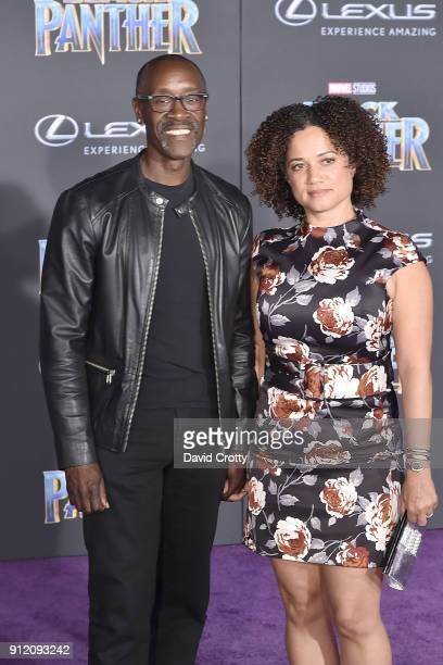 Don Cheadle and Bridgid Coulter attend the Premiere Of Disney And Marvel's 'Black Panther' Arrivals on January 29 2018 in Hollywood California