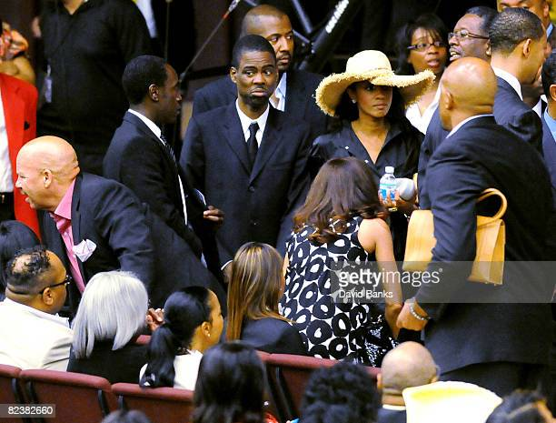 Don Cheadle and Chris Rock arrive at a memorial service for Bernie Mac at the The House of Hope Church on August 16, 2008 in Chicago, Illinois.