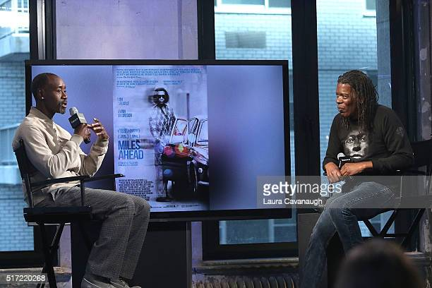 Don Cheadle and Mark Ruffin attend AOL Build Speaker Series to discuss his Directorial debut in 'Miles Ahead' at AOL Studios in New York on March 24...