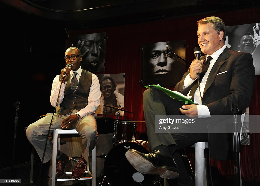 Don Cheadle and Stuart Ford address the audience at the IM Global/UTA Reception for 'Kill The Trumpet Player' on November 7, 2013 in Santa Monica, California.