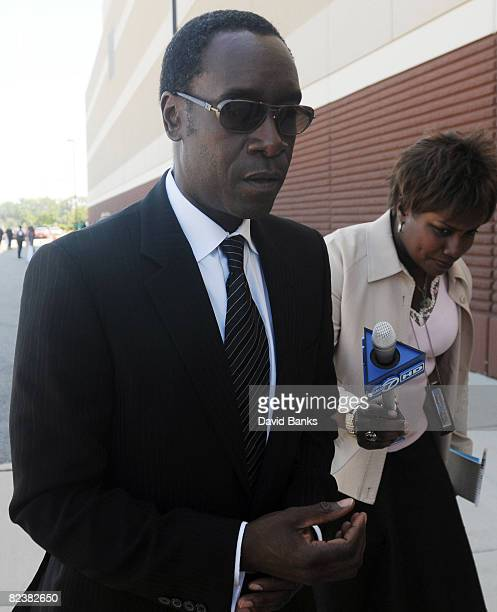 Don Cheadle arrives at a memorial service for Bernie Mac at the The House of Hope Church on August 16, 2008 in Chicago, Illinois.