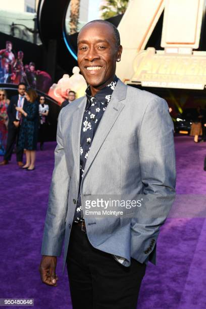 Don Cheadle attends the premiere of Disney and Marvel's 'Avengers Infinity War' on April 23 2018 in Los Angeles California