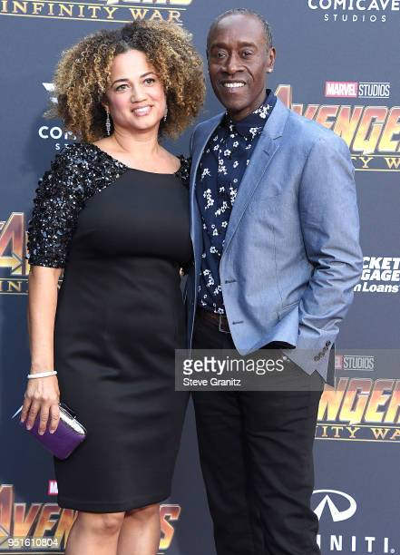 Don Cheadle Bridgid Coulter arrives at the Premiere Of Disney And Marvel's Avengers Infinity War on April 23 2018 in Los Angeles California
