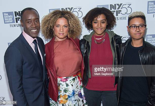 Don Cheadle Bridgid Coulter Imani Cheadle and Ayana Tai Cheadle attend the 53rd New York Film Festival closing night gala screening of Miles Ahead at...