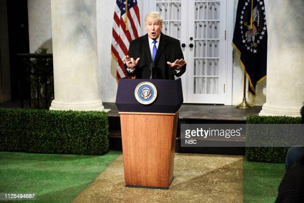 LIVE Don Cheadle Episode 1759 Pictured Alec Baldwin as Donald Trump during the Trump Press Conference Cold Open on Saturday February 16 2019