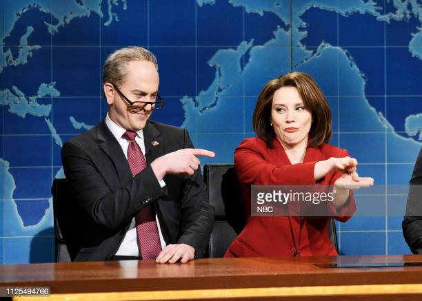 LIVE 'Don Cheadle' Episode 1759 Pictured Alex Moffat as Chuck Schumer and Kate McKinnon as Nancy Pelosi during Weekend Update in Studio 8H on...