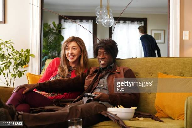 LIVE Don Cheadle Episode 1759 Pictured Heidi Gardner and host Don Cheadle during the RoachEx sketch on Saturday February 16 2019