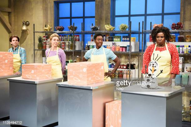 LIVE Don Cheadle Episode 1759 Pictured Kyle Mooney as Ralph Heidi Gardner as Sandy host Don Cheadle as Jimmy and Leslie Jones as Chantal during the...