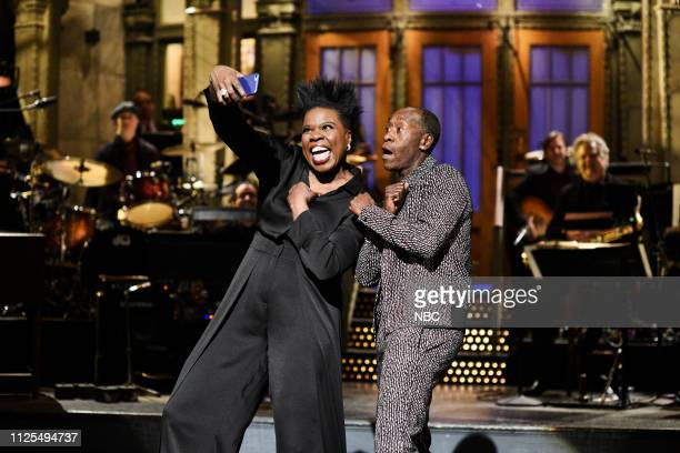 LIVE Don Cheadle Episode 1759 Pictured Leslie Jones and host Don Cheadle during the Monologue on Saturday February 16 2019